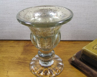 Repurposed Glass Urn Style Vase - Worn Silver / Mirror Finish