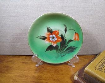 Vintage Hand Painted Saucer - Green - Orange Flower