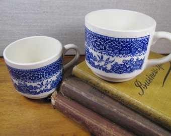 """Vintage """"Blue Willow"""" Coffee Mugs - Blue and White - Set of Two (2)"""