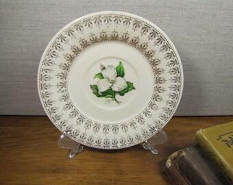 Vintage Saucer - White Dogwood - Gold Filigree