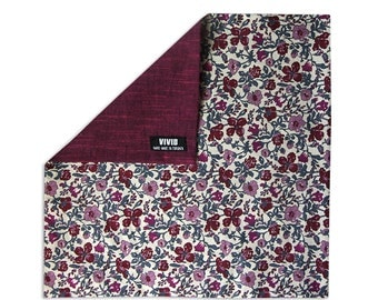 Reversible Pocket Square Floral Burgundy - Liberty of London - Burgundy, Maroon, Purple, Ivory, Grey Pocket Square
