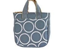 Small Fabric Purse, Fabric Purse, Gray and Yellow Tote, Fabric Tote, Gray Fabric Handbag, Gift for Her