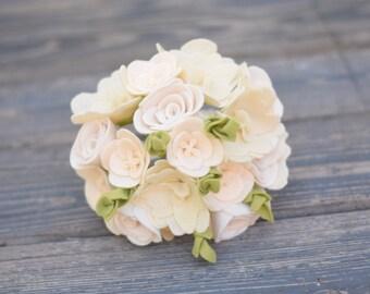 Alternative Bouquet - Felt Flower Bouquet - Rustic Wedding Bouquet - Ivory Wedding Bouquet