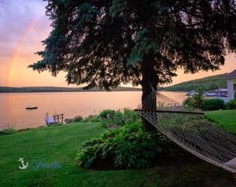 Limited Edition ~ Living the Lake Life ~ Church Landing ~ Lake Winnipesaukee, Meredith, New Hampshire, Fine Art Canvas, New England, Rainbow