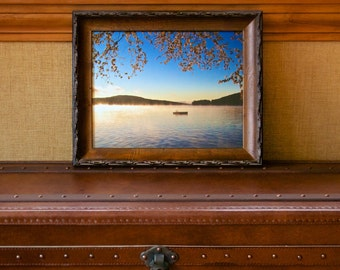 "Tranquility ~ 11x14 ""Lodge"" Framed Photograph, Lake Winnipesaukee, New Hampshire, New England, Neutral, Wall Art, Nautical, Artwork, Joules"