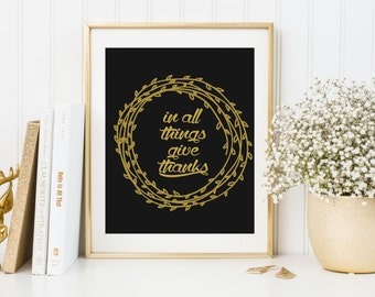 Thanksgiving Print, give thanks print, give thanks, thankful print, inspirational print, typography, fall, blessed, Wall Art