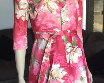 Vintage Hot Pink Satin Floral Strapless Dress with Matching Coat