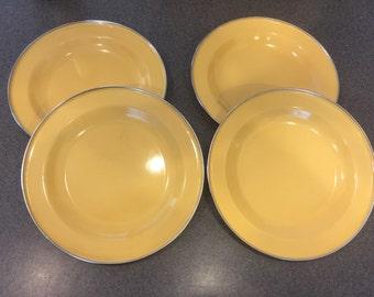 Vintage Yellow Enamel Metal Plates