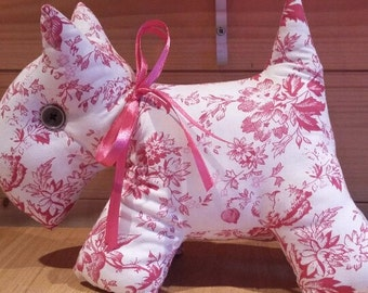 Scottie Dog soft toy in vintage floral fabric