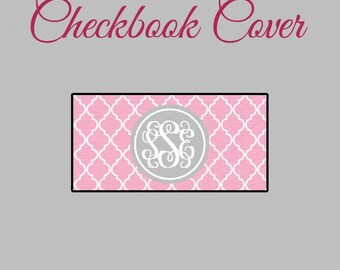 Checkbook Cover Pink Quatrefoil Monogrammed Personalized