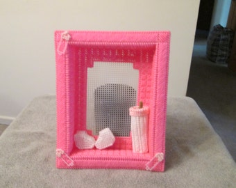 Shadow Box Photo Frame for Baby Girl in plastic canvas
