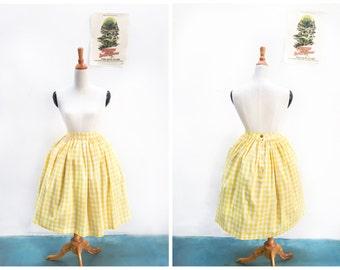 """Lola Skirt """"Lemonade Stand"""" in Yellow Checkered Gingham Print"""