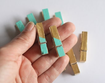 Set of 10 Teal & Gold Mini Clothespins // Photo Clothesline // Photo Display // Art Display // Cute Clothes Pegs // Clothespin Set