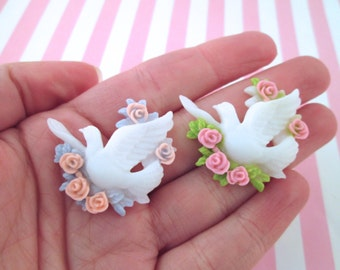 White Dove and Roses Wedding Resin Cabochons, #623 & #624