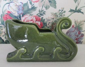 Vintage Haeger USA Green Glazed Ornate Sleigh Sled Pottery Planter Winter Holiday Decor