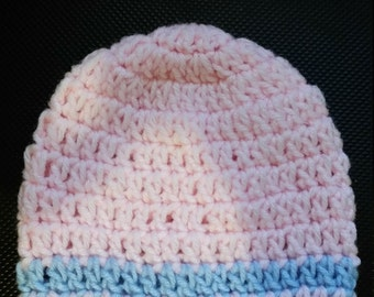 pink and blue striped Beanie