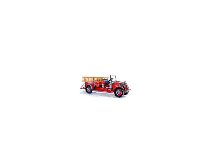 """Print of miniature painting of a old Fire Truck.  1 1/4"""" x 1 1/4"""" print of original Fire Truck painting on 5"""" square german etching paper"""