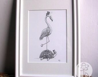 Flamingo, Tortoise, Butterfly - Black and White Illustration Print