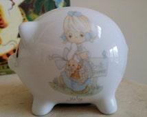 July piggybank Precious Moments 1988 vintage bank vintage baby gift