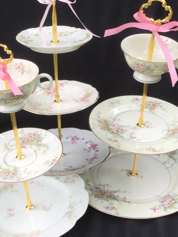 wedding cake stand 3 tier serving tray limoges plate cherry blossom cupcake tower tea party. Black Bedroom Furniture Sets. Home Design Ideas