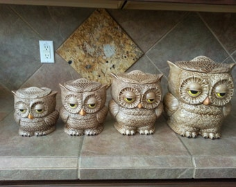 Vintage Retro 4 Piece Ceramic Owl Canister, Two Sided Owls, Mint Condition, Hand Painted, No Two Sets are the Same, 1970's Mod, Great Find
