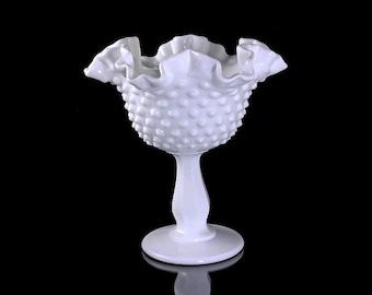 Fenton Compote, Hobnail, Milk Glass, Double Crimped, Pedestal