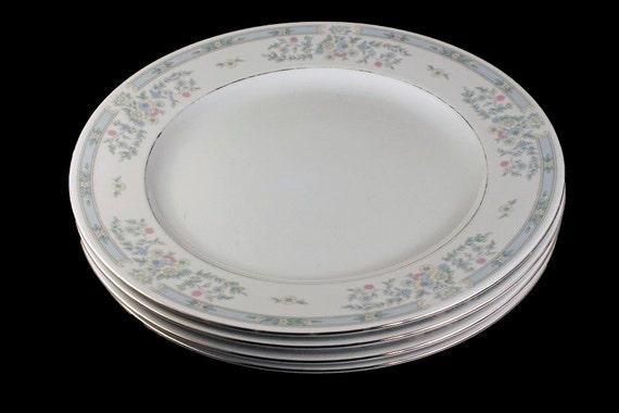 Dinner Plates, Fairfield Fine China, Versailles Pattern, Set of 4, Pastel Floral, Platinum Trim