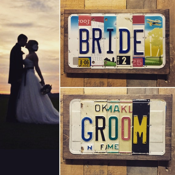 Bride and Groom License Plate sign - Wedding Decoration - Wedding Decor - License Plate Wall Art - Wedding Gift