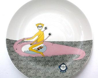 "Small Side Plate illustrated decal ""Riding a Sea Slug"""