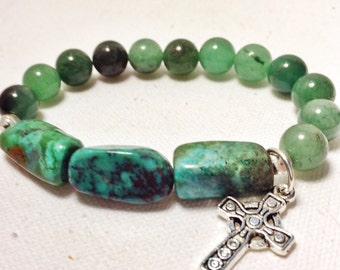 Jade and turquoise bracelet, celtic cross charm bracelet, green turquiose stretch bracelet, green stack bracelet
