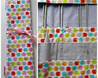 Hedgehog Needle Roll, Large knitting needle case, 24 Pocket Knitting Needle Roll, Needle Organizer, Knitting Storage. Knitters Gift.