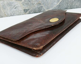 Old Dark brown Evening Bag Vintage Purse Clutch Handbag, Dark brown Leather Evening Bag, Dark brown purse vintage classic bag/ Retro purse