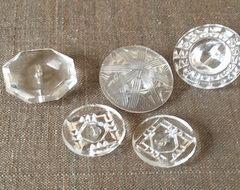 Nice clear vintage glass button lot-5pc
