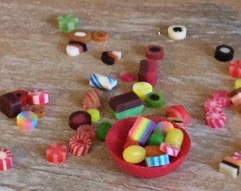 Miniature dollhouse Easter jelly beans and candy bowl