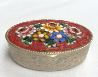 Micro mosaic trinket box Length 5cm Height 2cm
