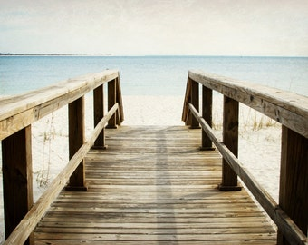 Beach Pathway Bridge Boardwalk Landscape Photography Ocean Fine Art Photo Summer Blue Pastel Colors Summer Seaside Nautical Home Decor Photo