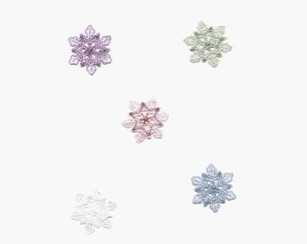 Small - Snowflake - Iridescent Shimmery - Color choice - Iron-on Applique Patch - Embroidered - 693912