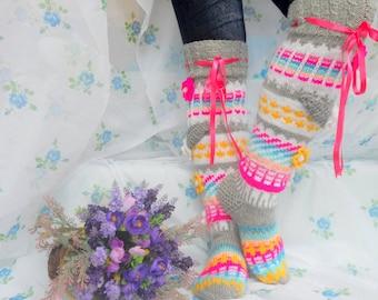 Over the Knee Socks, Knee High Socks, Knit Knee Socks, Wool Socks with flowers, Leg Wormers, High Socks, Model: MISHEL