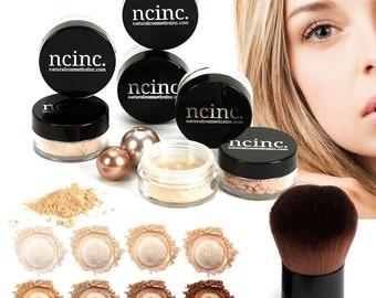 8pc Naked Skin Mineral Makeup Set by NCinc. Complete Kit: Foundation, Blusher, Bronzer, Concealer, Corrector, Miracle Veil + Kabuki Brush