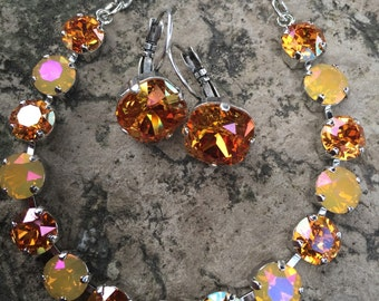 Swarovski bracelet and earring combo