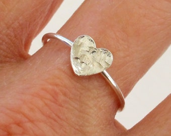 Sterling Silver Ring, Silver Hammered Heart Ring, Silver Heart Ring, Silver Hammered Ring, Silver Simple Ring, Silver Classic Ring