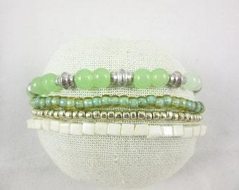 Light Green Stack Bracelet Set Handmade Custom Size Stretch Stacking Bracelets