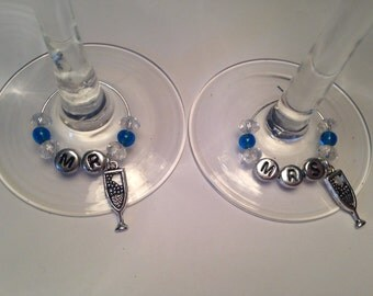 Mr & Mrs Wine Glass Charms Set (2)