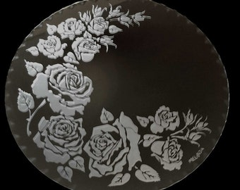 Engraved Glass - Round Scalloped Edge Mirror Rose Design