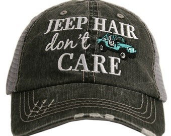 Jeep Hair Don't Care Distressed Trucker Hat