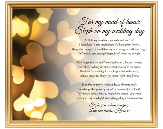 Gift For Best Friend On Wedding Day: Maid Of Honor Poem Gift Chief Bridesmaid Poem Personalized
