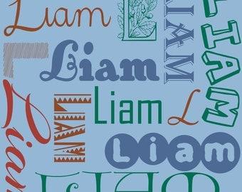 Custom name fabric design