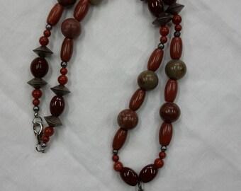 "Necklace beaded ""brecciated red jasper heart"" jaspers metal ceramic"