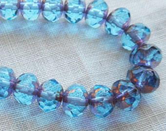 Lot of 25 faceted puffy rondelle or donut Czech glass beads, Transparent Aqua Blue with Gold Picasso accents, 5 x 7mm C00201