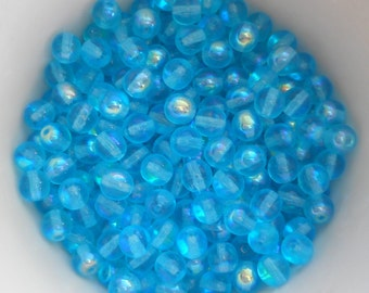 50 6mm Czech glass beads, Aqua Blue AB smooth round druk beads C2250